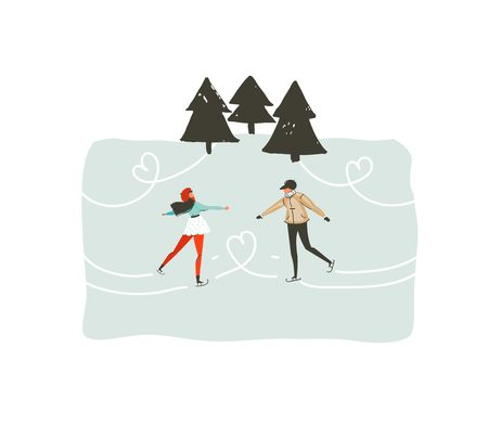 Hand drawn vector abstract fun Merry Christmas time cartoon illustration with young couple who skating in frozen forest isolated on white background