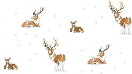 手描きベクトル抽象楽しいメリー クリスマス時間漫画イラスト雪景色は、白い背景で隔離のかわいいトナカイや鹿の家族とシームレスなパターン。