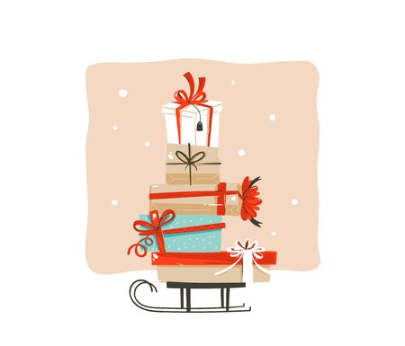 Hand drawn vector abstract fun Merry Christmas shopping time cartoon greeting illustration card design with many colorful surprise gift boxes on sleigh isolated on white background