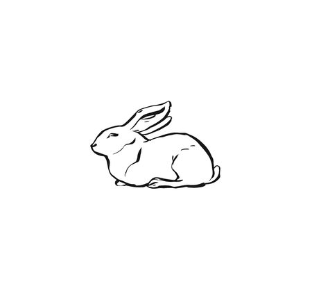 Hand drawn vector abstract graphic icon design element with cute ink brush drawing illustration of bunny or rabbit isolated on white background
