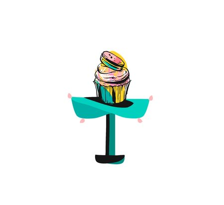 Hand drawn vector abstract graphic icon design element with ink brush painted illustration of holiday cupcake stand design isolated on white background