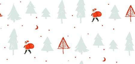 Hand drawn vector abstract fun Merry Christmas time cartoon illustration with Santa Claus child with surprise gift bag walking in Christmas trees frozen forest isolated on white background Banco de Imagens