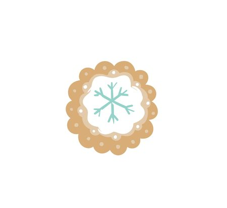 Hand drawn vector abstract fun Merry Christmas time cartoon illustration card with baked gingerbread cookie round shape isolated on white background