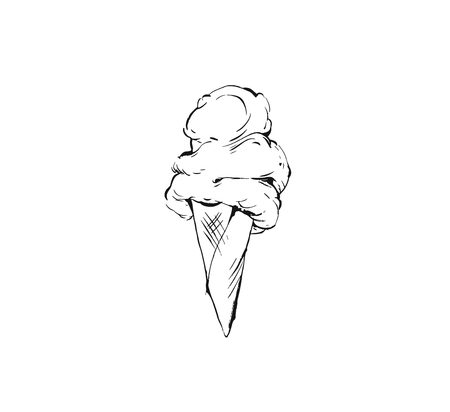 Hand drawn vector abstract graphic icon design element with ink brush painted illustration of creamy ice cream in waffle cone isolated on white background Illustration