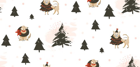 Hand drawn vector abstract fun Merry Christmas time cartoon illustration seamless pattern with many pet dogs in holidays costume and xmas trees isolated on white background Illustration