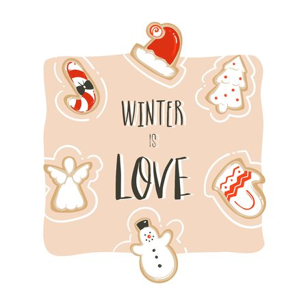 Hand drawn vector abstract fun Merry Christmas time cartoon card template with cute illustrations,gingerbread cookies and handwritten modern calligraphy Winter is love isolated on white background