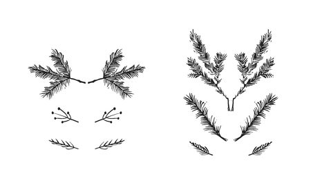 Hand drawn vector Merry Christmas rough freehand graphic greeting design elements collection set with ink scandinavian Christmas tree branches isolated on white background