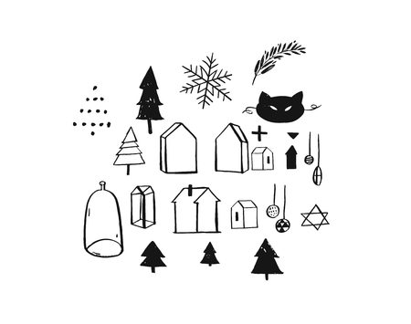 Hand drawn vector Merry Christmas rough freehand graphic greeting design elements collection set with ink scandinavian icons and graphics isolated on white background