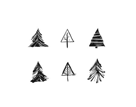 Hand drawn vector Merry Christmas rough freehand graphic greeting design elements collection set with ink scandinavian Christmas trees icons isolated on white background Stock Photo