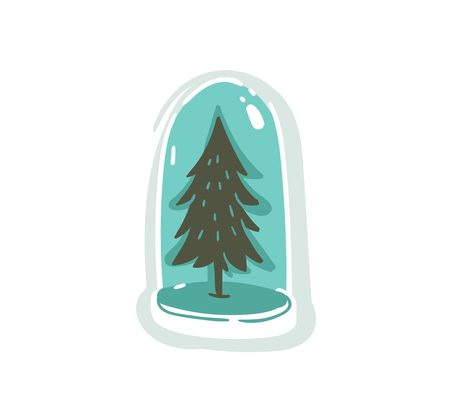 Hand drawn vector Merry Christmas time cartoon graphic illustration design element with snow globe ball with Christmas tree isolated on white background