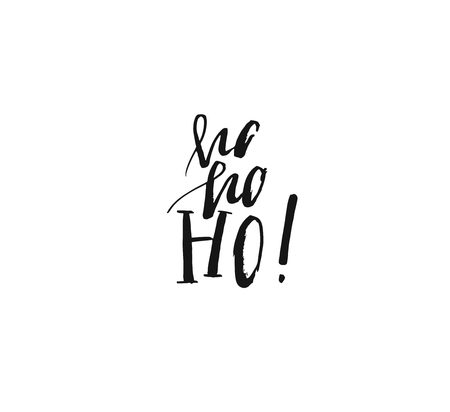 Hand drawn vector Merry Christmas rough freehand graphic greeting design element with handwritten modern calligraphy phase Ho ho ho isolated on white background 版權商用圖片