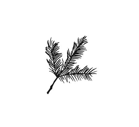 Hand drawn vector Merry Christmas rough freehand graphic greeting decoration design element with ink scandinavian Christmas tree branch isolated on white background