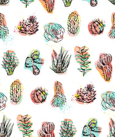 Hand drawn vector abstract graphic creative succulent,cactus and plants seamless pattern isolated on white background.Unique unusual hipster trendy design.Hand made graphic art Illustration