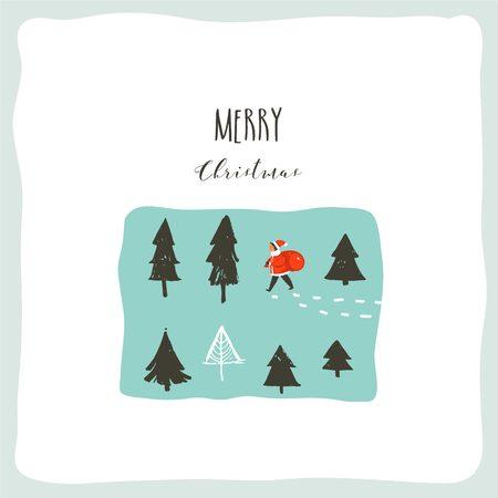 Bergeben Sie gezogene Vektorzusammenfassungsspaßkarikaturillustration der frohen Weihnachten mit Santa Claus-Kind mit der Überraschungsgeschenktasche, die in gefrorene Wald- und Weihnachtskalligraphie lokalisiert auf weißem Hintergrund geht Standard-Bild - 89836445