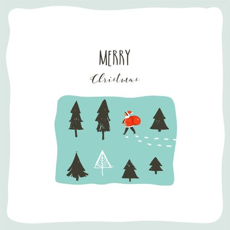 Hand drawn vector abstract fun Merry Christmas time cartoon illustration with Santa Claus child with surprise gift bag walking in frozen forest and xmas calligraphy isolated on white background Ilustração