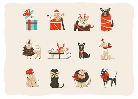 Diversão abstrata de mão desenhada vector Coleção de ilustrações de ícones dos desenhos animados de tempo feliz Natal conjunto com cães felizes de mamífero em trajes de árvore de Natal de férias isolado no fundo branco Foto de archivo - 89855870