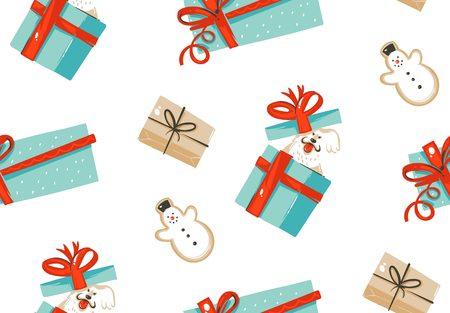 手描きベクトル抽象楽しい驚きのギフト ボックス、白い背景で隔離ジンジャーブレッド クッキーの愛犬とのメリー クリスマス時間漫画イラスト シ