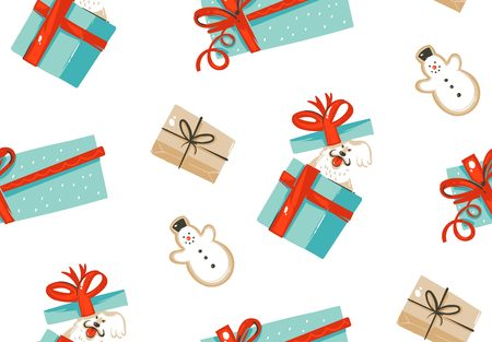 Hand drawn vector abstract fun Merry Christmas time cartoon illustration seamless pattern with pet dog in surprise gift boxes and gingerbread cookies isolated on white background