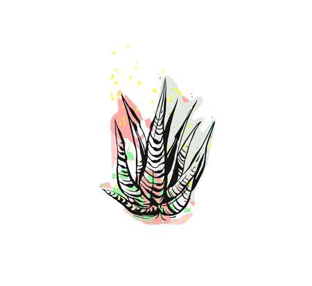 손으로 그린 된 벡터 추상 그래픽 그리기 흰색 배경에 고립 된 자유형 텍스처와 알로에 베라 식물. 독특한 특이 한 힙합 유행 디자인 요소입니다. 손으 일러스트
