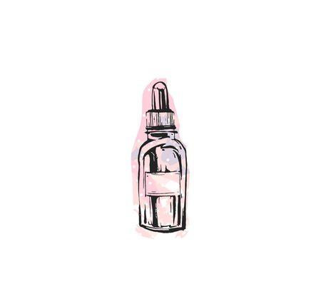 손으로 그려진 된 벡터 추상 질감 그래픽 패션 액세서리 여자 액세서리 세련 된 스타일 아이콘 핑크 파스텔 색상 흰색 배경에 고립에서 크림 튜브 일러스트