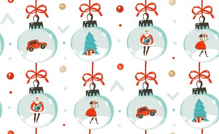 Hand drawn vector abstract fun Merry Christmas time cartoon illustration seamless pattern with Christmas vintage tree toys,people and Santa Claus isolated on white background Stock Photo