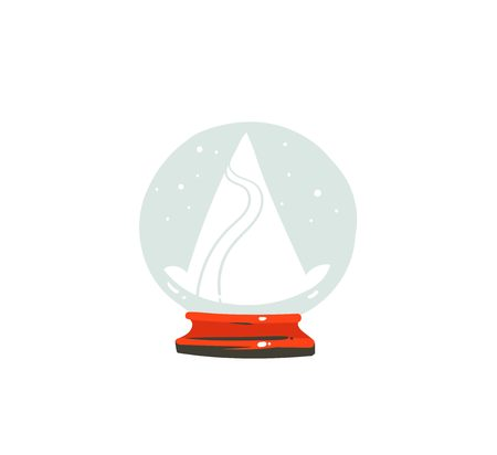 Hand drawn vector Merry Christmas time cartoon graphic illustration design element with snow globe ball with mountains isolated on white background Stock Photo