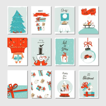 Hand drawn vector abstract fun Merry Christmas time cartoon cards collection set with cute illustrations,surprise gift boxes ,Xmas tree and modern calligraphy isolated on white background