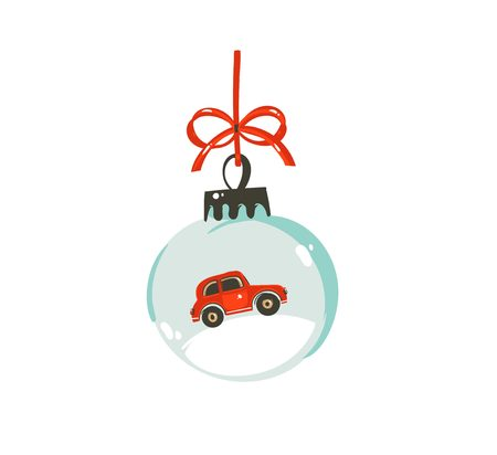 Hand drawn vector Merry Christmas time cartoon graphic illustration design element with glass snow globe ball with red car isolated on white background