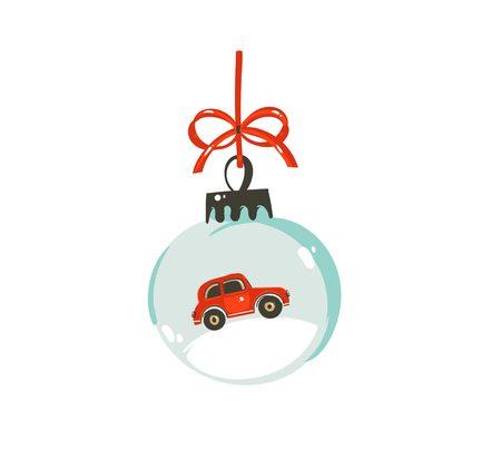 Wręcza patroszonemu wektorowemu Wesoło boże narodzenie czasu kreskówki projekta graficznego ilustracyjnego elementowi z szklaną śnieżną kuli ziemskiej piłką z czerwonym samochodem odizolowywającym na białym tle