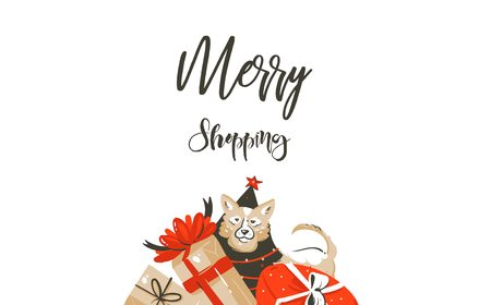 Vector Merry Christmas shopping time cartoon graphic simple greeting illustration logo design with dog,many surprise gift boxes and calligraphy Merry Shopping isolated on white background