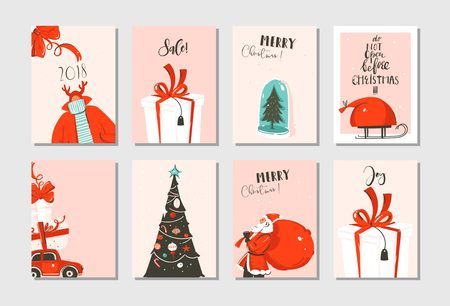 Hand drawn vector abstract fun Merry Christmas time cartoon cards collection set with cute illustrations,surprise gift boxes,xmas tree and modern calligraphy in pastel colors isolated