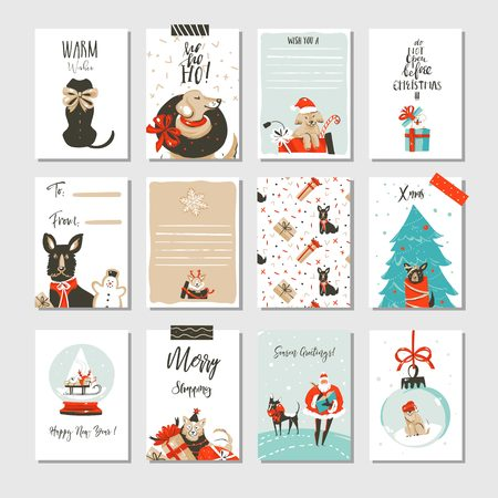 Hand drawn vector abstract fun Merry Christmas time cartoon cards collection set with cute illustrations. Illustration