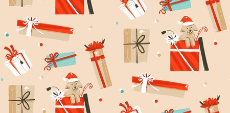 Hand drawn vector abstract fun Merry Christmas time cartoon illustrations seamless pattern with cute funny mammal dogs in vintage Christmas gifts boxes isolated on craft paper background