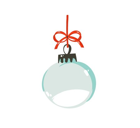 Hand drawn vector Merry Christmas time cartoon graphic illustration design element with xmas tree empty glass snow globe ball with red bow isolated on white background Stock Photo