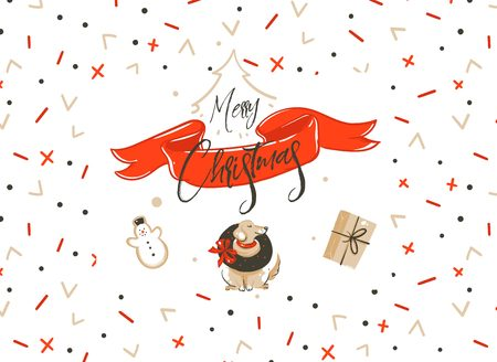 Hand drawn vector Merry Christmas shopping time cartoon graphic simple greeting illustration logo design with dog,surprise gift boxe and calligraphy Merry Christmas isolated on white background Stock Photo