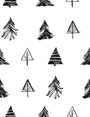 Hand drawn vector Merry Christmas rough freehand graphic design elements seamless pattern with ink scandinavian Christmas trees and branches isolated on white background Stock Photo
