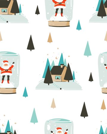 Hand drawn vector abstract fun Merry Christmas time cartoon seamless pattern with cute illustrations,Santa Claus in snow bulb and Eve outdoor with pine forest and house isolated on white background Stock Photo