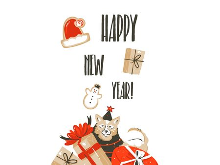 Hand drawn vector Merry Christmas shopping time cartoon graphic simple greeting illustration logo design with dog,many surprise gift boxes and calligraphy Happy New Year isolated on white background Stockfoto