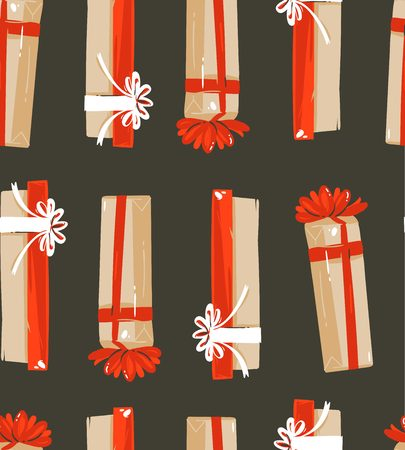 time cartoon illustrations seamless pattern with cute retro vintage Christmas gifts isolated on black background Stock Photo