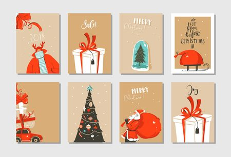 Hand drawn vector abstract fun Merry Christmas time cartoon cards collection set with cute illustrations,surprise gift boxes ,Christmas tree and modern calligraphy isolated on craft paper background
