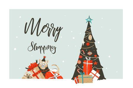 Hand gezeichnetes Vektorgruß-Illustrationslogodesign der frohen Weihnachten Einkaufszeit-Karikaturgraphik einfachen mit Hund, vielen Überraschungsgeschenkboxen und Kalligraphie Merry Shopping lokalisiert auf weißem Hintergrund