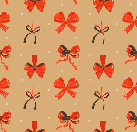 Rustic festive seamless pattern with cute illustrations of red silk bows isolated on craft paper background Illustration