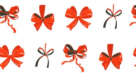 Rustic festive seamless pattern with cute illustrations of red silk bows isolated on white background