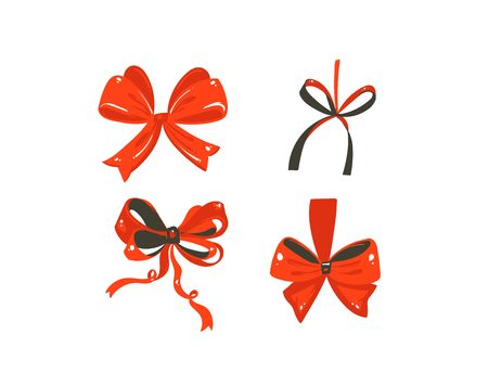 Collection set of red silk bows isolated on white background Stock Illustratie