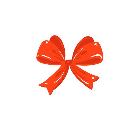 Cute illustration of red silk bow isolated on white background Illustration