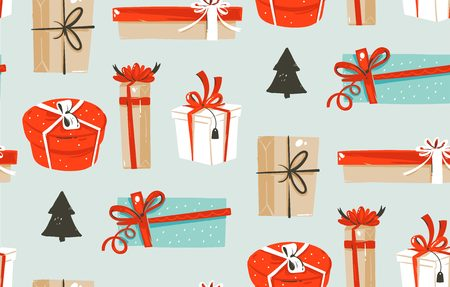 Illustrations seamless pattern with cute retro vintage Christmas gifts boxes isolated on blue background Ilustrace