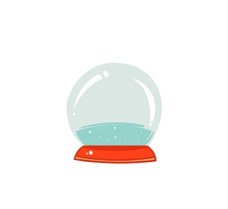 Hand drawn vector graphic illustration design element with snow globe sphere isolated on white background