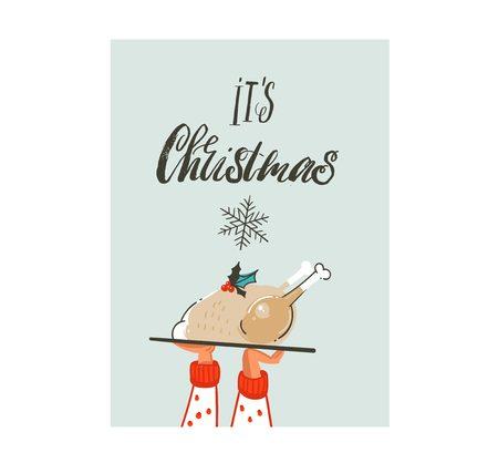 Mano dibujada vector abstracto diversión Feliz Navidad tarjeta de dibujos animados de tiempo con linda ilustración de cena familiar de pavo de Navidad y caligrafía moderna Su Navidad aislado sobre fondo blanco Foto de archivo - 90515283