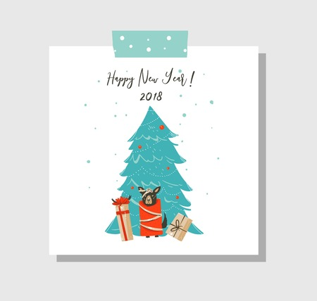 Hand drawn vector abstract fun Merry Christmas time cartoon card template with cute illustrations,surprise gift boxes,dog and modern calligraphy Happy New Year 2018 isolated on white background