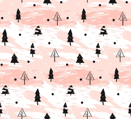Hand drawn vector abstract Christmas decoration textured seamless pattern design with freehand dirty brush painted Christmas trees in pastel colors isolated on white background